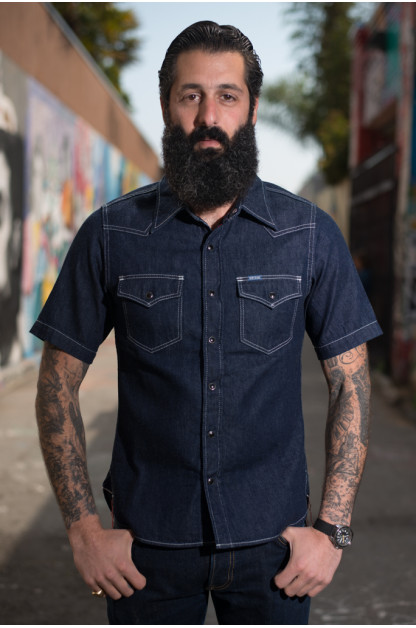 Iron Heart 7oz Selvedge Denim Short Sleeve Shirt