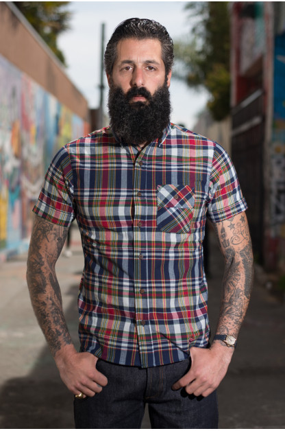 3sixteen for SEMX Breezy-Days Shirt - Red/Indigo-Madras