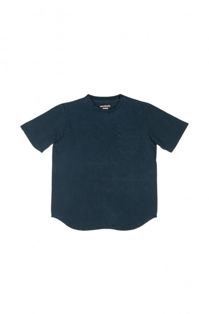 Monitaly Pocket Tee w/ Round Tail - Plant-Dyed Indigo