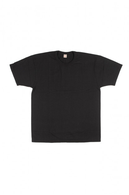"Flat Head ""Glory Park"" Loopwheeled Blank T-Shirt - Black"