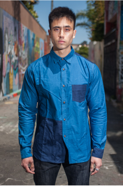 3sixteen Button Down Long Sleeve - Indigo Block