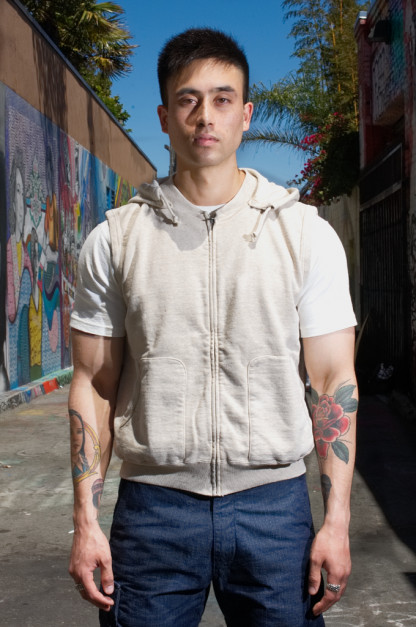 "Stevenson Loopwheeled ""Images of Turbulence"" Sleeveless Hoodie - Oatmeal"