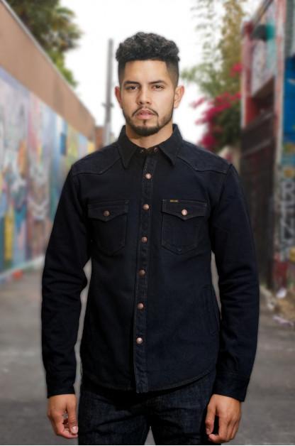 Iron Heart 18oz Denim CPO Shirt w/ Hand Pockets - Overdyed