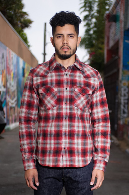 Iron Heart Ultra-Heavy Flannel Classic Check Shirt - Red/Black Snap