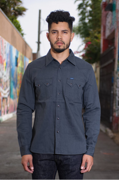 Iron Heart Sawtooth Denim Shirt - 8.5oz Graycast