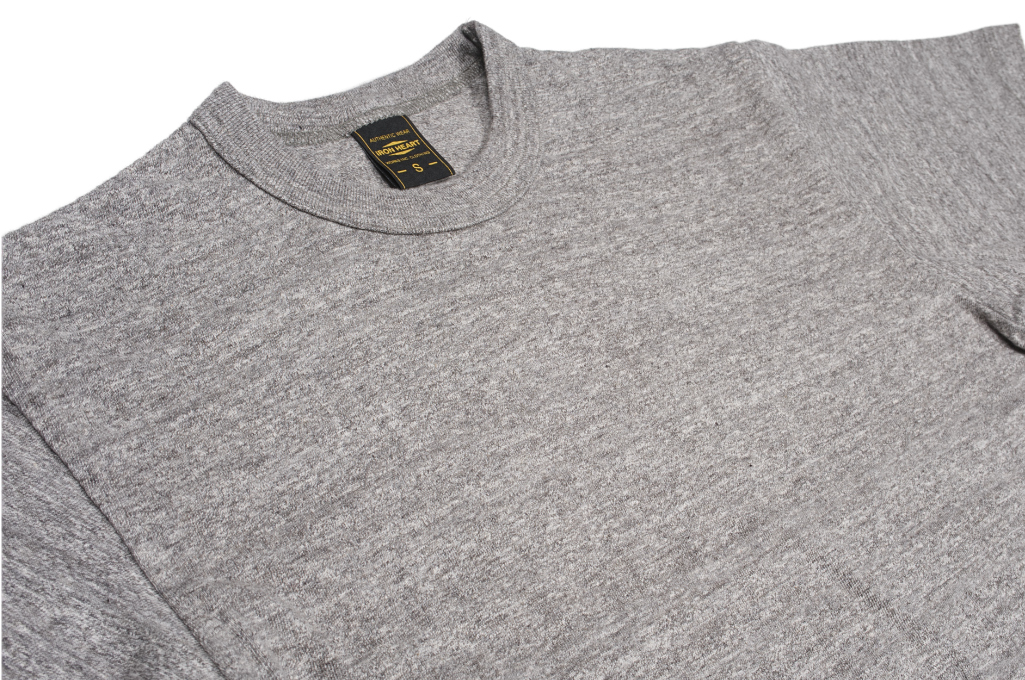 Iron Heart 6.5oz Heavy Loopwheeled T-Shirt - Light Gray - Image 2