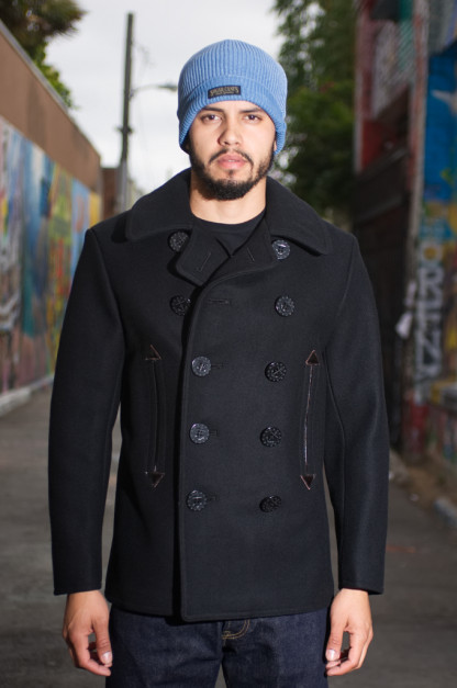 Buzz Rickson x William Gibson Slim Cut Black Pea Coat