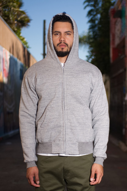 Whitesville Heavy Weight Thermal Lined Zippered Hoodie - Gray