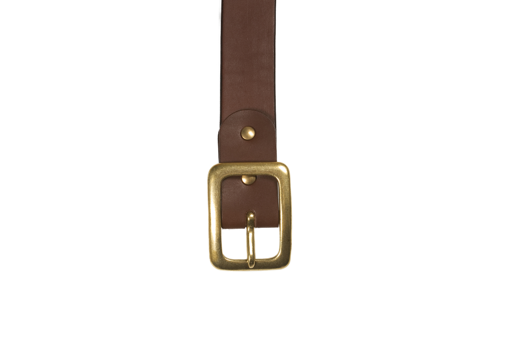 Iron Heart Heavy Duty Cowhide Belt - Brass/Brown - Image 1