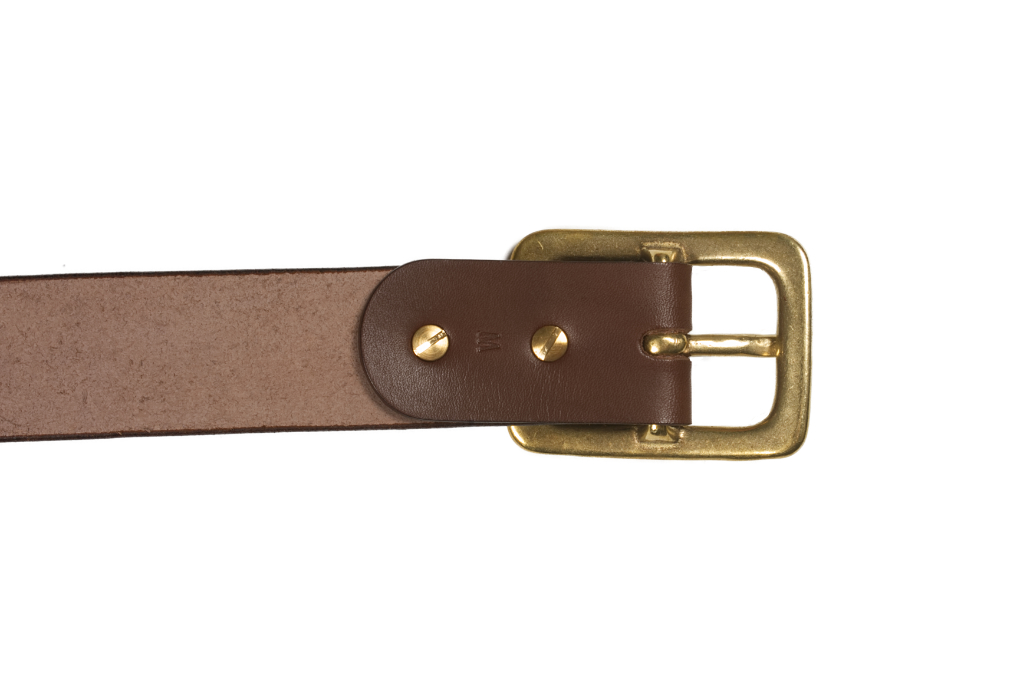 Iron Heart Heavy Duty Cowhide Belt - Brass/Brown - Image 4