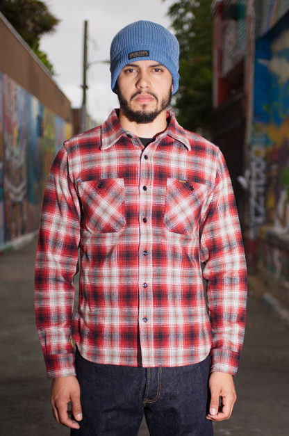Iron Heart Ultra-Heavy Flannel Classic Check Shirt - Red/Black Workshirt