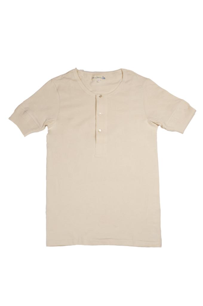 Merz b. Schwanen 2-Thread Heavy Weight T-Shirt - Henley Natural - Image 0