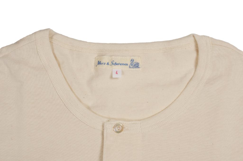 Merz b. Schwanen 2-Thread Heavy Weight T-Shirt - Henley Natural - Image 2