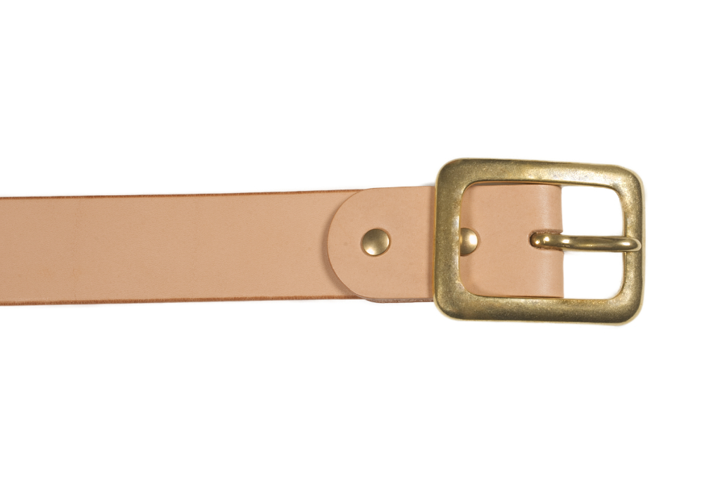 Iron Heart Heavy Duty Cowhide Belt - Brass/Tan - Image 1