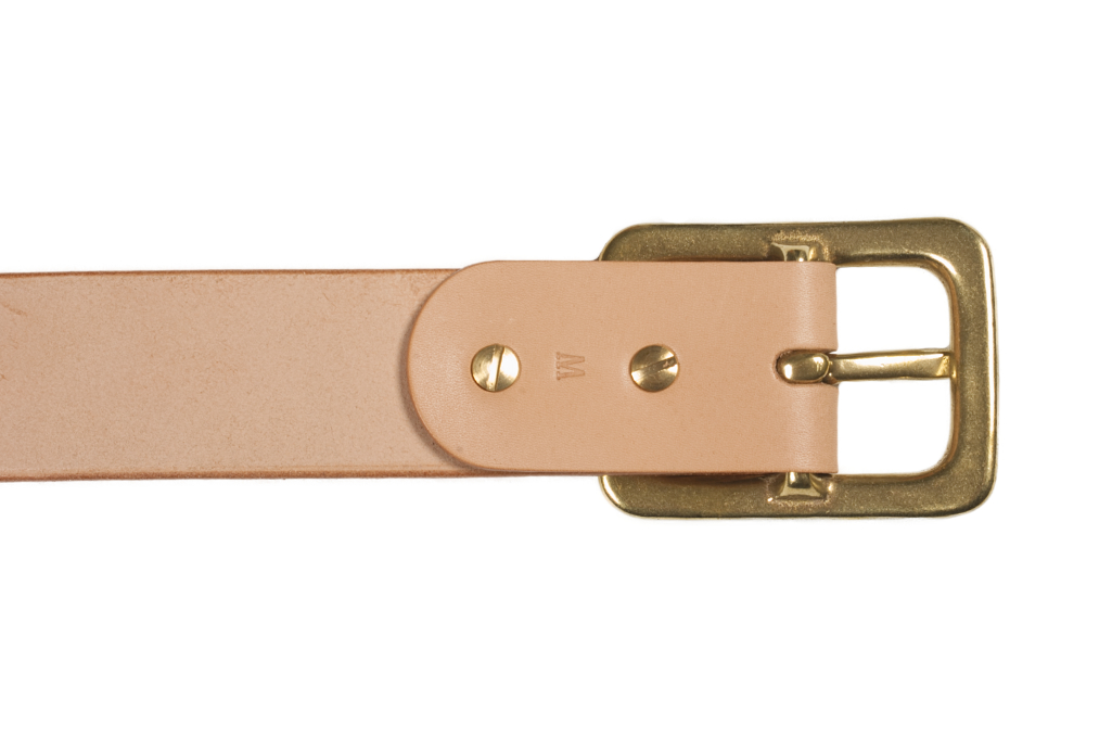 Iron Heart Heavy Duty Cowhide Belt - Brass/Tan - Image 4
