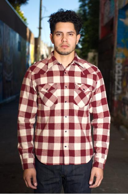 Iron Heart Ultra-Heavy Flannel Buffalo Check Snap Shirt - Maroon/Cream
