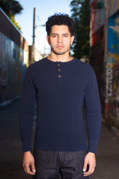 Studio D'Artisan Heavy Thermal Long Sleeve Shirt - Navy