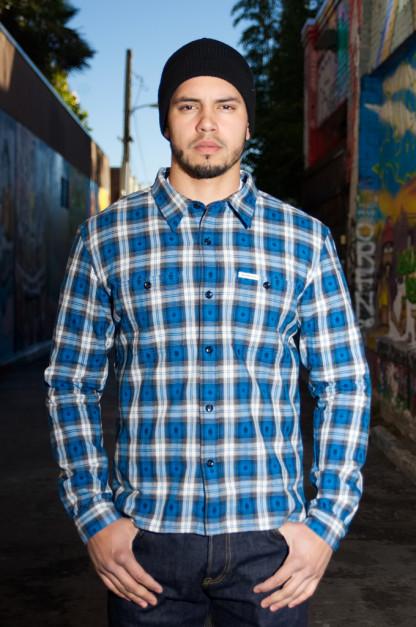 Flat Head Amnesia Haze Native Check Shirt - Blue
