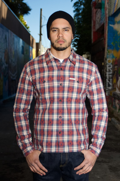 "Flat Head ""Amnesia Haze"" Native Check Shirt - Red"
