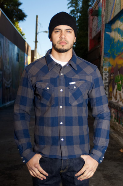 "Flat Head ""Gray Chaos"" Winter Heavy Flannel - Snap Buttoned"