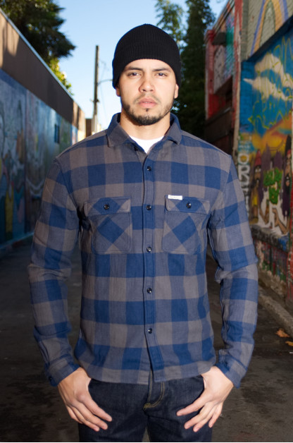 "Flat Head ""Gray Chaos"" Winter Heavy Flannel - Workshirt"