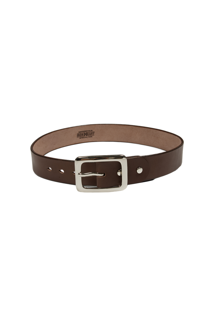 Iron Heart Heavy Duty Cowhide Belt - Nickel/Brown - Image 0
