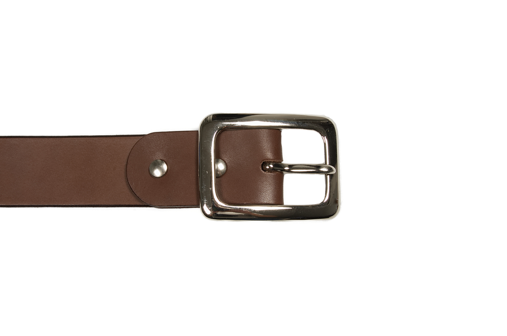 Iron Heart Heavy Duty Cowhide Belt - Nickel/Brown - Image 1