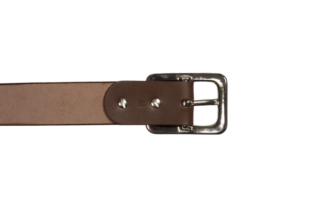 Iron Heart Heavy Duty Cowhide Belt - Nickel/Brown - Image 3