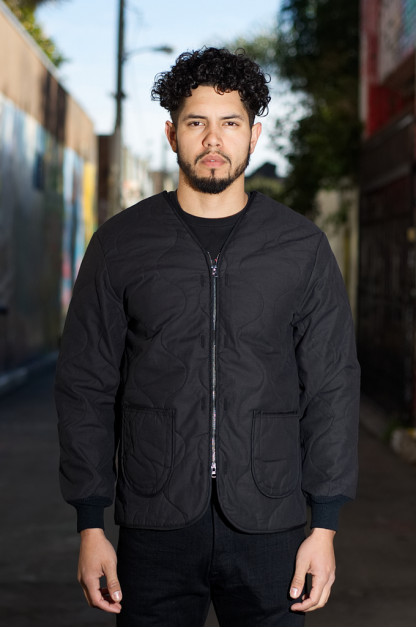 3sixteen x Alpha Industries Black Quilted Liner Jacket