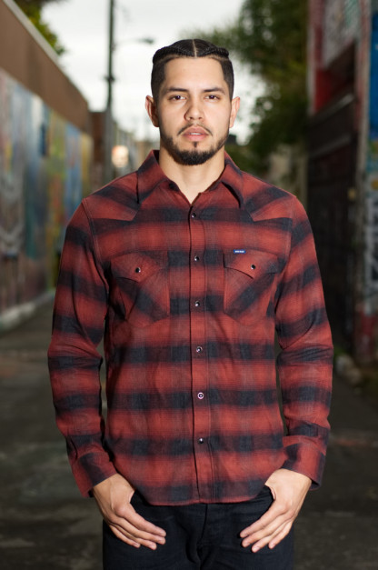 Iron Heart 2018 Ombre Check Western Shirt - Black/Brick