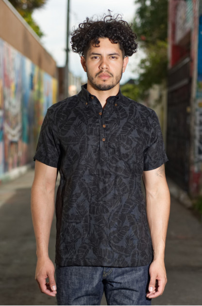 3sixteen Short Sleeve Pop-Over - Black Linen