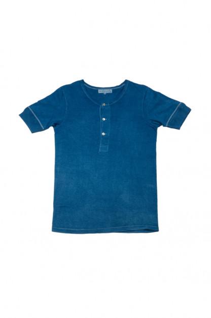 Merz B. Schwanen 2-Thread Heavy Weight T-Shirt - Natural Indigo-Dyed Henley
