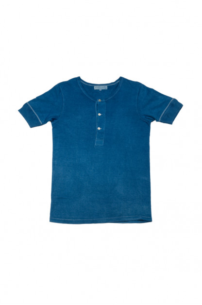 Merz B. Schwanen 2-Thread Heavy Weight T-Shirt - Natural Indigo-Dyed Henley