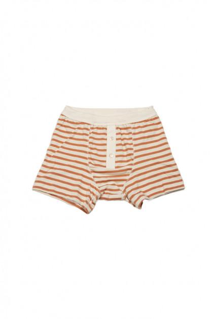 Merz B. Schwanen Loopwheeled Boxer Brief Underwear - Rust Striped
