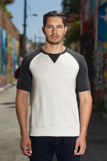 Merz B. Schwanen 3-Thread Short Sleeve Sweatshirt - Natural/Charcoal Stripe Sweater