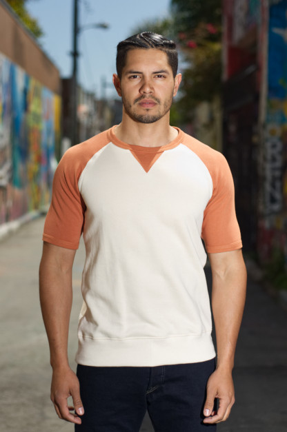 Merz B. Schwanen 3-Thread Short Sleeve Sweatshirt - Natural/Rust Stripe Sweater