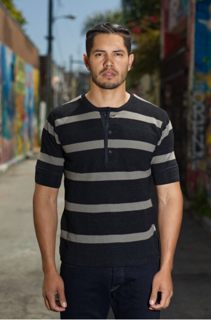 Stevenson Indigo-Dyed Henley - Short Sleeve Striped Black