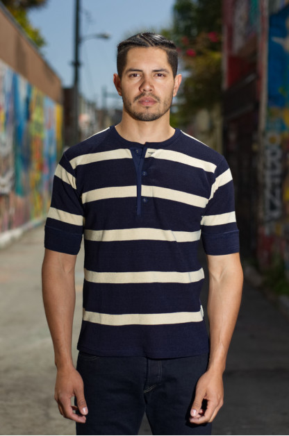 Stevenson Indigo-Dyed Henley - Short Sleeve Striped Indigo