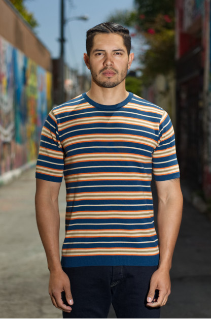 Stevenson High-Gauge Cotton Knit Shirt - Blue