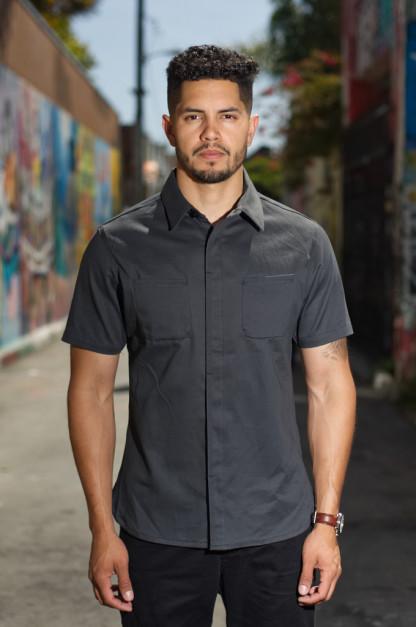 Nine Lives Marshall Islander Twill Short Sleeve Workshirt - Gray