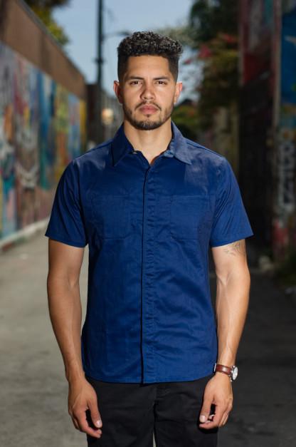 Nine Lives Marshall Islander Twill Short Sleeve Workshirt - Indigo