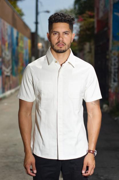 Nine Lives Marshall Islander Twill Short Sleeve Workshirt - White