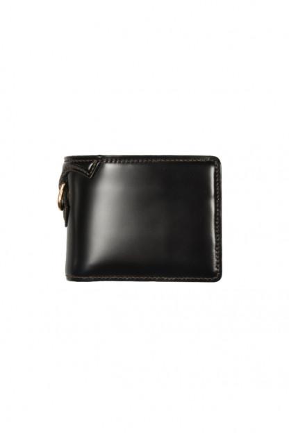 Flat Head Shell Cordovan Half-Fold Wallet - Black
