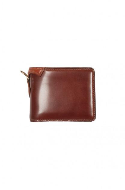 Flat Head Shell Cordovan Half-Fold Wallet - Brown