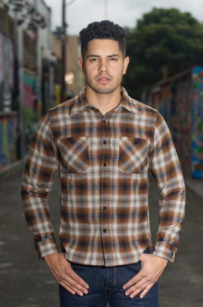 Iron Heart Ultra-Heavy Fear of a Brown Flannel Workshirt