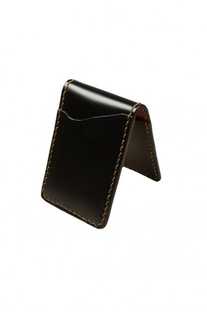 Flat Head Shell Cordovan Small Wallet - Black