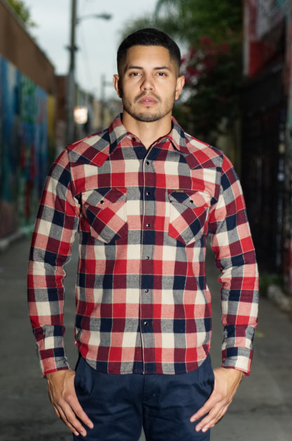Iron Heart Ultra-Heavy Brushed Flannel - Small Block Red