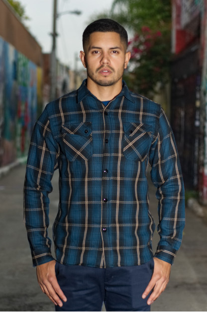 3sixteen Crosscut Flannel - Slate Blue Plaid