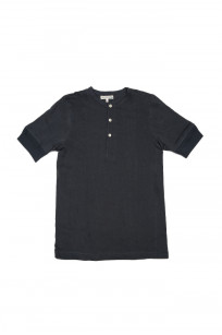 Merz B. Schwanen 2-Thread Heavyweight T-Shirt - Cotton/Hemp Navy Henley - Image 0
