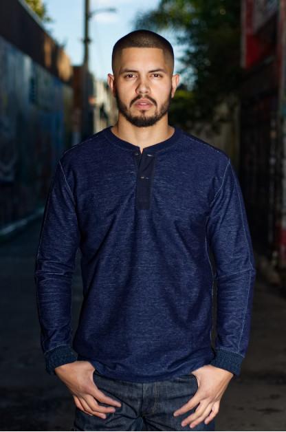 Pure Blue Japan Denimish Military Henley T-Shirt